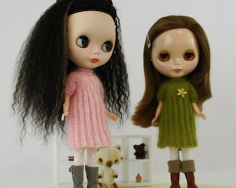 Blythe doll Alex Dress knitting PATTERN - cute romantic short sleeve sweater dress - instant download - permission to sell finished items