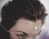 Luna Goddess Moonstone Head Chain / Chain Head Dress / Bohemian Head Chain with Rainbow Moonstone  / Goth Festival / Bridal Headchain
