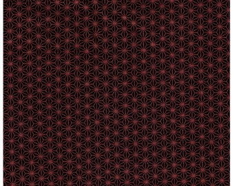 HALF YARD - STOF Fabrics - Glimmering - Asanoha Copper Metallic on Black - 4592-907