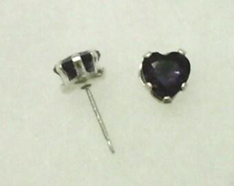 6mm Purple Amethyst Gemstone Hearts in 925 Sterling Silver Stud Earrings February Birthstone