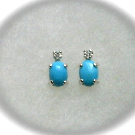7x5mm Sleeping Beauty Turquoise Cabochons with 2mm White Topaz Gemstone Accents in 925 Sterling Silver Stud Earrings