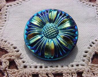 Metallic Blue Star Daisy Czech Glass Button
