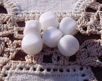 Snowy White Dimpled Cubes Vintage Glass Beads