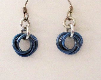 Blue Mobius Chainmaille Earrings Handmade