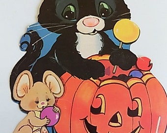 Vintage Paper Halloween Black Cat and Mouse with Pumpkin Wall Hanging Decoration