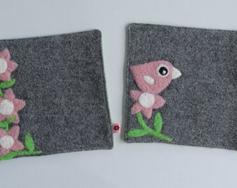 Set of two gray wool fabric coasters with needle felted pink flowers and birdie bird