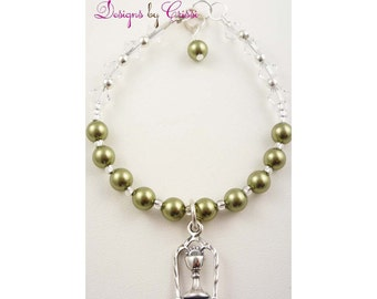 First communion bracelet for Girls - green swaorvski pearls or any colors- personalized charm sterling silver