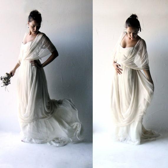 alternativo, vestito da sposa di seta, abito bianco, vestito da sposa ...