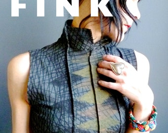Rapid Formations - iheartfink Handmade Hand Printed Womens Gray Mandarin Collar Sleeveless Jersey Top