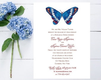 Butterfly Rehearsal Dinner Invitations - Wedding Dinner Invitations, Wedding Rehearsal, Invitation