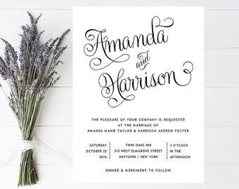 Romantic Script Wedding Invitation - Pretty, Classy Wedding Invitations - Elegant, Vintage Wedding Invitation