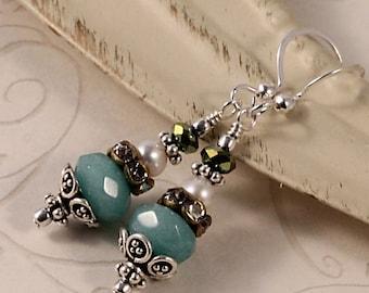 Aqua Blue Vintage Victorian Drop Earrings, Blue Jade, Sterling Silver Brass Bronze, White Freshwater Pearls, Green Crystals, Rhinestone ETAL