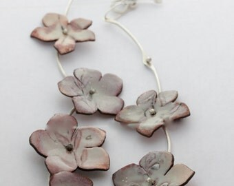 Spring Floral Enamel Necklace with handmade sterling silver Chain