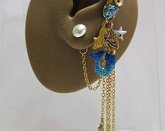 Light Blue Mermaid With Starfish, Pearl Stud, Teardrops Gold Ear Cuff Earring Nautical Ocean Fantasy Cuff Earring Ear Wrap