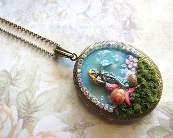 Little Mermaid With The Sea Horse In The Ocean Locket Necklace Ocean Nautical Shells Flowers Blue Pink Legend Fantasy Mystical Magical Fairy