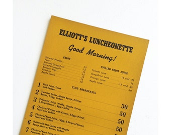 1943 Elliott's Luncheonette Menu - Vintage Seattle Washington - Vintage Menu