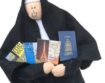 "Travel Enthusiast Novelty nun doll with passport, avid traveler, travel agent gift, fun Catholic gift, ""The Roamin' Catholic'"""