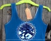 Dancing goddess Crop Tops tank tops & tees Shiva batik clothing womens yoga top super soft festival crop top hand dyed blue - Yoga clothes -