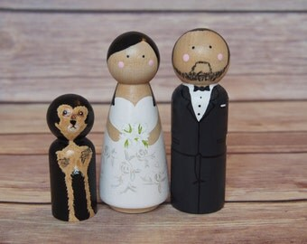 Custom Wedding Toppers with Pet// bride and groom // custom wedding cake toppers // personalized wedding cake toppers