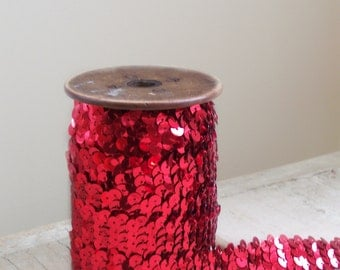 2 1/2 Yards Wide Red Stretchy Sequin Trim