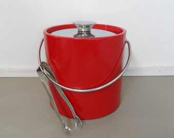 Mid Century Modern Ice Bucket Red Patent Leather Retro and way Groovey 1960s Mad Men
