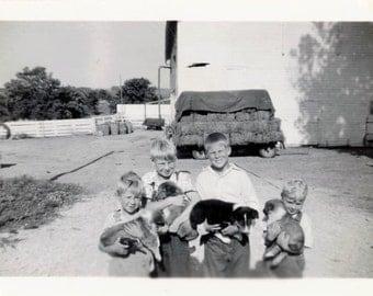 Vintage photo 1947 Little Blond Boys ea Hold Collie Puppy Dog snapshot photo