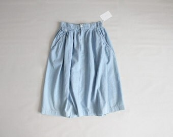 chambray skirt | high waist skirt | full skirt