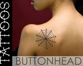 Spider Web Tattoo - Spiderweb Tattoo - Halloween Costume Temporary Tattoos