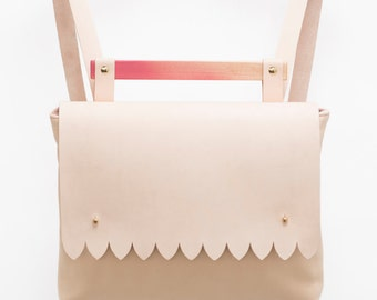 SALE Scalloped Nude Backpack. Spring Fashion Vegetable Leather. Gradient Pink Maple Wood Backpack. Modern Thick Vegtan Leather Base. SS16