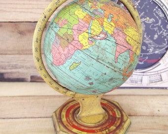 Free Shipping Vintage 8 inch Metal Globe zodiac  Persia Siam Well loved as-found Tin Litho Primitive