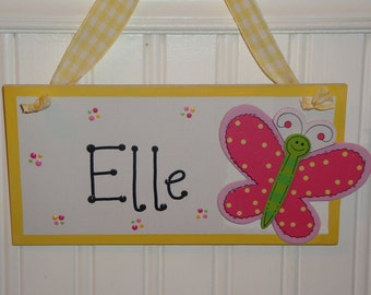 Personalized Butterfly Dragonfly Ladybug Bumble Bee Wood Wall/Door Sign for Girls Room Decor-Plaque YOU CHOOSE