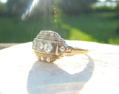 1930's to 1940's Diamond Ring, Super Fiery European Cut Diamonds, 14K and 18K Gold, Fine Maker Jabel, Late Art Deco to Retro