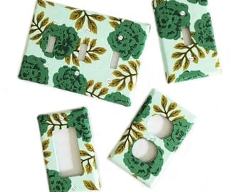 Fabric Covered Light Switch Plate Cover - All Styles - Double, Triple, GFCI, Outlet, Slider, Rocker, Toggle