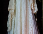 Ivory wedding dress beaded  tiered antique  lace tulle fairytale crinoline  vintage  bride  romantic medium by vintage opulence on Etsy