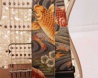 Koi and dragonfly metalic gold and gray guitar strap