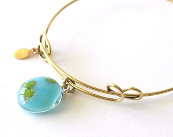 Simple Summer Glass - Adjustable Bangle Bracelet - It's a Small World - Reactive Glass Charm - Sky Blue Glass - Fused Glass Cabochon