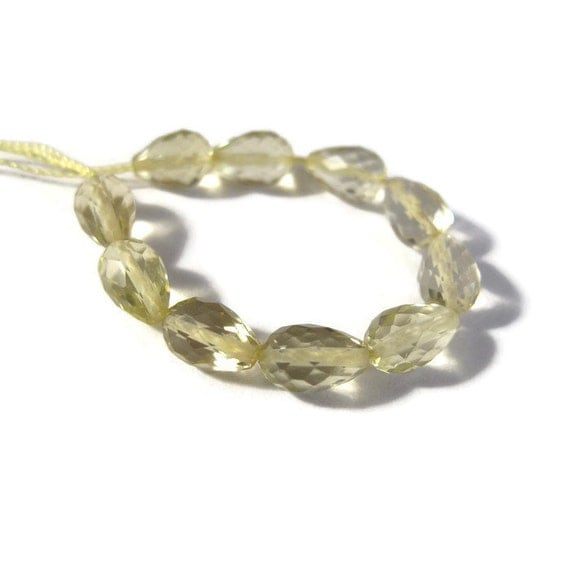10 Lemon Quartz Beads, Long-Drilled Faceted Briolettes, 7mm x 4.5mm, Ten Light Yellow Gemstones for Jewelry Making (L-LQ5)