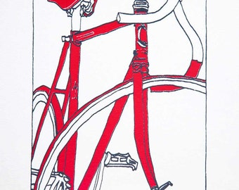 Track Racking Bike in Serious Red on White - Bicycle Art Print