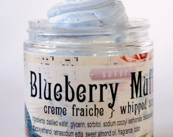 Blueberry Muffin Creme Fraiche Whipped Soap 8 oz