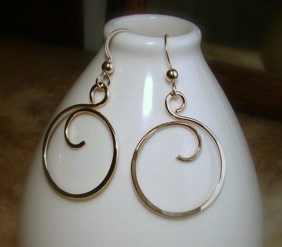 Hand Forged Gold Filled Wire Curly Q Hoop Earrings