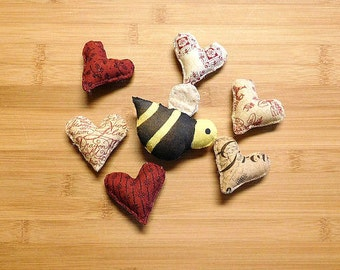 Primitive Bee and Heart Spring Ornament Bowl Fillers Set of Seven
