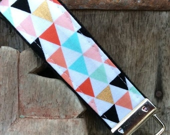 READY TO SHIP-Beautiful Key Fob/Keychain/Wristlet-Multi color Triangles on Black