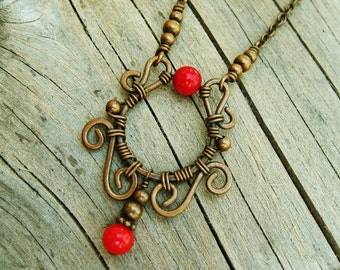 Wire wrapped copper and red coral necklace