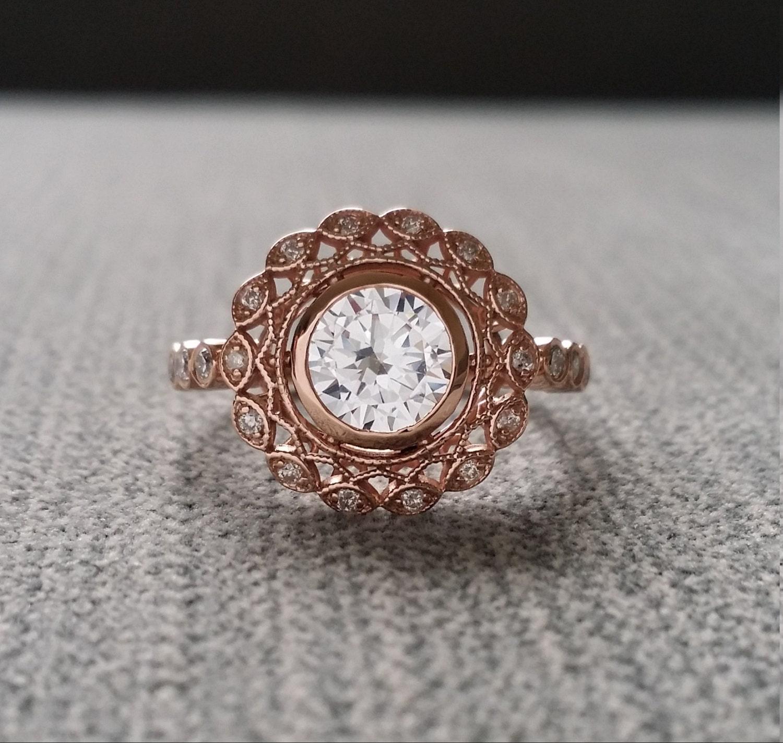Bezel Set White Sapphire Diamond Ballerina Antique Engagement