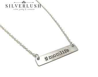 Sterling Silver #MOMLIFE Horizontal Hand Stamped Tag necklace