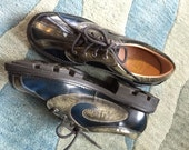 RESERVED Fluevog blue silver leather shoes angels soles 4 row lace up vintage punk clothing men size 9 steampunk creepers supervogs derby