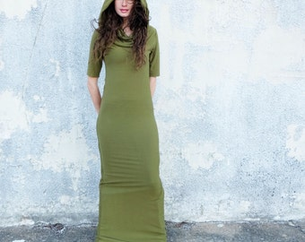 ORGANIC STRETCHY Super Cowl Pencil Long Dress (STRETCH Organic Cotton Knit) - organic dress