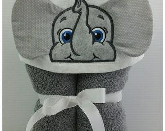 Towel Hoodie ~ Personalized Elephant Hooded Towel for Kids ~ Handmade Toddler Bath Towel ~ Animal Towel ~ Birthday Gift from grandma