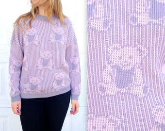Sale! 1980s TEDDY BEAR SWEATER in Medium or Large  / Oversized / Plus Size 80's Sweater / Grey and Pink / Gray / Winter Warm Slouchy