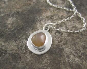 Handmade Sterling Silver Pendant - Smoky Lake Superior Agate Drop Pendant